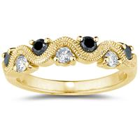 Black & White Diamond Women's  Band in 10K Yellow  Gold