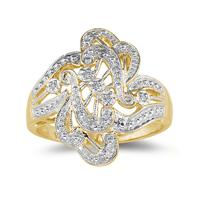 Engraved Antique 10K Yellow Gold Diamond Ring