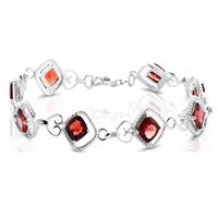 Diamond and Garnet Bracelet in .925 Sterling Silver