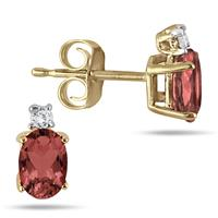 Oval Garnet Drop and Diamond Earrings in 14K Yellow Gold