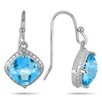 Deals on 3 Carat Cushion Cut Blue Topaz Dangle Earrings in .925 Sterling Silver
