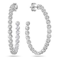 Deals on 1.50 Carat White Sapphire Hoop Earrings In Rhodium Plated Brass