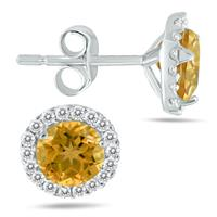 Citrine and Diamond Stud Earrings in 14K White Gold