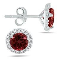 5MM Garnet and Diamond Stud Earrings in 14K White Gold