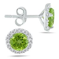 5MM Peridot and Diamond Stud Earrings in 14K White Gold