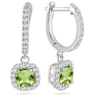 1 Carat Peridot and Diamond Halo Dangle Earrings in 10K White Gold