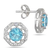 2.00 Carat All Natural Genuine Blue Topaz and Diamond Earrings in .925 Sterling Silver