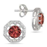2.00 Carat All Natural Genuine Garnet and Diamond Earrings in .925 Sterling Silver