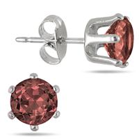 6MM Round All-Natural Genuine Garnet Earrings in Rhodium Plated Brass
