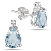 1.75 Carat TW Pear Shaped Blue Topaz & Diamond Earrings in .925 Sterling Silver