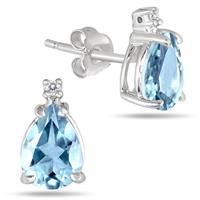 1.75 Carat Tw Pear Shaped Blue Topaz & Diamond Earrings