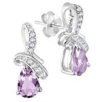 1.20 Carat TW Amethyst Diamond and White Topaz Earrings in .925 Sterling Silver