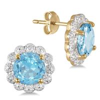 Blue Topaz and Diamond Earrings in .925 Sterling Silver