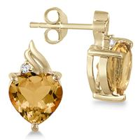 Heart Shaped Citrine and Diamond Earrings in 18K Gold Plated Sterling Silver