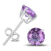 6MM Amethyst Stud Earrings in .925 Sterling Silver