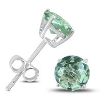 6MM All Natural Green Amethyst Stud Earrings in .925 Sterling Silver