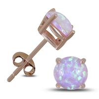 6MM Created Opal Stud Earrings in Plated .925 Sterling Silver
