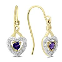 Amethyst and Diamond Heart Dangle Earrings in Plated .925 Sterling Silver