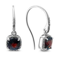 Cushion Cut Garnet and Diamond Halo Dangle Earrings in .925 Sterling Silver