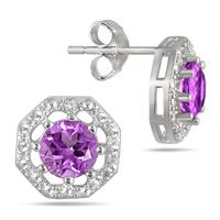 Amethyst and Diamond Earring in .925 Sterling Silver