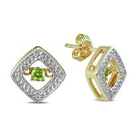 Peridot and Diamond Dancer Earrings in .925 Sterling Silver