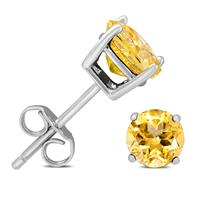 6MM Citrine Stud Earrings in .925 Sterling Silver
