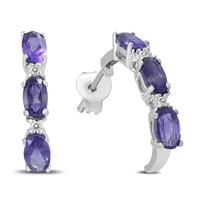 Deals on Amethyst And Diamond Earrings In .925 Sterling Silver
