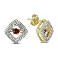 Garnet and Diamond Dancer Earrings in .925 Sterling Silver