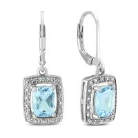 8X6 Radiant Cut Blue Topaz and Diamond Lever Back Earrings in .925 Sterling Silver
