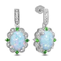 Oval Created Opal Earring with Diamonds and Chrome Diopside