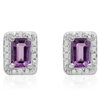 1 Carat Emerald Shaped Amethyst and Halo Diamond Earrings