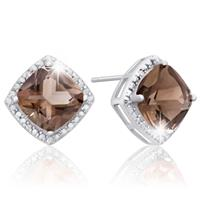 Deals on 3 3/4 Carat Tw Cushion Cut Smoky Quartz and Diamond Earrings