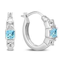 Blue Topaz and Created White Sapphire Princess Hoop Earrings in .925 sterling silver