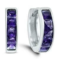 Princess Cut Amethyst Channel Set In .925 Sterling Silver