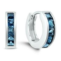Deals on Princess Cut London Blue Topaz Channel Set Hoop Earrings