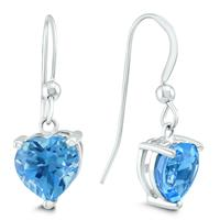 Blue Topaz Heart Shaped Dangle Hook Earrings In .925 Silver