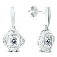 Deals on White Topaz Infinity Heart Rhythm Dangle Earrings