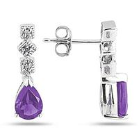 Amethyst and Diamond Antique Earrings in 14K White Gold