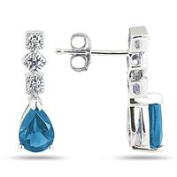 Blue Topaz and Diamond Antique Earrings in 14K White Gold
