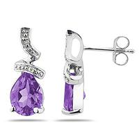 Pear Shaped Amethyst and Diamond Earrings in 10k White Gold