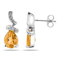 Pear Shaped  Citrine  and Diamond Earrings in 10k White Gold