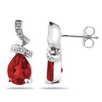 Pear Shaped  Garnet  and Diamond Earrings in 10k White Gold