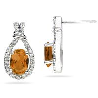 Citrine & Diamonds Oval Shape Earrings in 10k White Gold