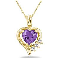 Heart Shape Amethyst & Diamond Pendant in 10K Yellow Gold