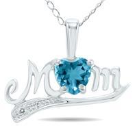 Blue Topaz and Diamond MOM Pendant 10k White Gold