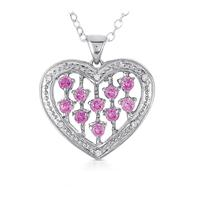 Sapphire And Diamond Heart Pendant In .925 Sterling Silver Deals