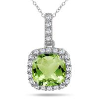 1 3/4 Carat Cushion Peridot and Diamond Halo Pendant in 10K White Gold