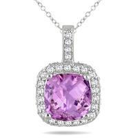 1 1/2 Carat Cushion Amethyst and Diamond Halo Pendant in 10K White Gold