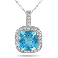 1 1/2 Carat Cushion Blue Topaz and Diamond Halo Pendant in 10K White Gold