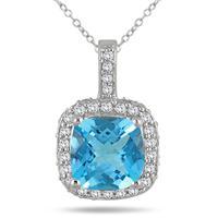 1 1/2 Carat Cushion Blue Topaz and Diamond Halo Pendant in 10K White Gold